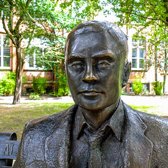 FX301825-1 Alan Mathison Turing. b 1912 - d 1954. (Lawrence Holmes.) Tags: fuji x30 statue sculpture alanmathisonturing turing bletchley enigma codebreaker sackville gardens manchester uk lawrenceholmes