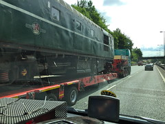 Class 26 D5310 - Tuesday 26th July 2016 (Paul.Bevan) Tags: trainsontrucks lorries allelysheavyhaulage m40 motorway traintransportation dieselloco classic vintage britishrail class26 d5310 greatcentralrailway scottish highland operations stgo cat3 mercedessprinter ontheroad cabview interestingthingsseenontheroad train lowloader br heritage green escortvehicle heavyload haulage transport specialistjob trainspotting bx06xzy