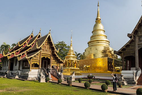 The Whitewashed Chedi is now a Golden Pagoda, adjoining the Wihan Lai Kham