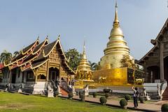 The Whitewashed Chedi is now a Golden Pagoda, adjoining the Wihan Lai Kham (Anoop Negi) Tags: thailand chiang mai wat phra singh golden chedi pagoda statue chapel wihan lai kham travel buddhism buddhist temple complex
