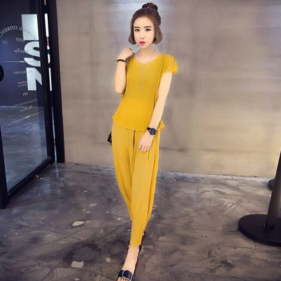 Fat summer mm the new 2016-size ladies ' short sleeve slim nine minutes of pants set 200 pound fat sister twin set
