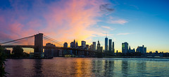 Panorama Skyline from Manhattan at a wonderful Sunset (xxremixx) Tags: newyork city nyc united states america sunset sonnenuntergang sundown east river hutson skyscraper skyline wolkenkratzer wolken clouds world trade center manhattan brooklynbridge manhattanbridge bridge amerika architecture architektur panorama