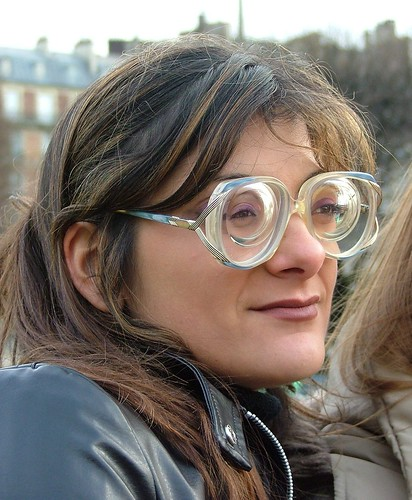 ded23bbf804f Cute brunette girl wearing split arm glasses with super strong and thick -15  lenses · Sexy girl with glasses wearing big glasses with very strong myopic  ...