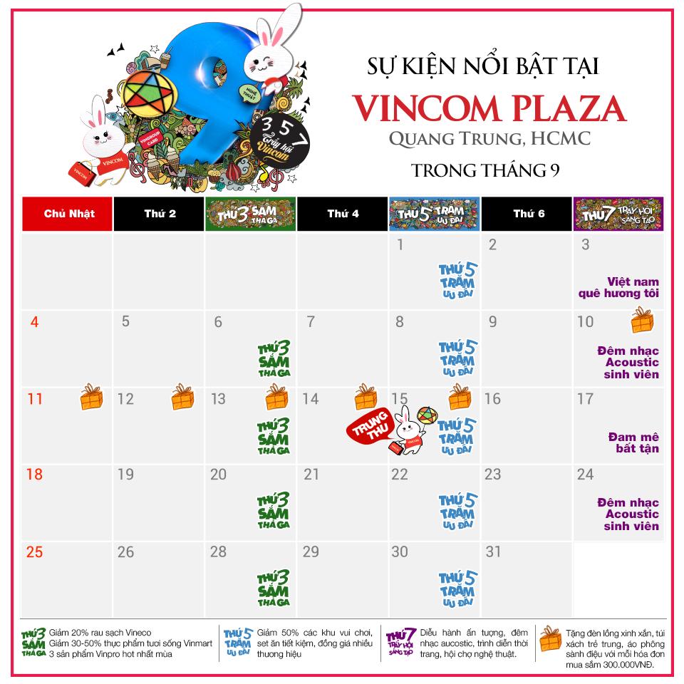Tháng 9 này, có gì chờ bạn ở Vincom Plaza Quang Trung