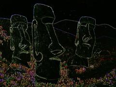 Ultra Violet Voilets Illuminated During An Easter Island Eclipse... HSS!. (Roger Rua) Tags: moai easterisland painting black ultraviolet sliderssunday hss