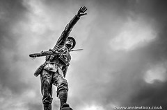 VE Day - remembering lives lost (AnnieWilcoxPhotography) Tags: uk greatbritain england blackandwhite bw cloud texture monochrome statue soldier army blackwhite nikon memorial europe gun shropshire britishisles unitedkingdom britain hitler rifle may ww2 soldiers british ww1 grenade warmemorial hdr highdynamicrange surrender hdri bridgnorth 2015 veday photomatix castlegardens victoryineuropeday southstaffordshire photographytechnique d7000 shropshirelightinfantry anniewilcox wwwanniewilcoxcouk