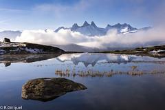 Lac Guichard (Alpes) (renan4) Tags: trip travel cloud snow france mountains reflection alpes sunrise landscape nikon rocks europe lac nikkor renan montagnes d800 frenchalps bivouac aiguillesdarves gicquel guichard potron renan4