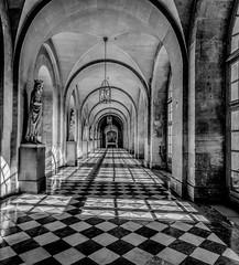 Empty Hallway (Martin Smith - Having the Time of my Life) Tags: bw france vanishingpoint lightandshadows îledefrance shadows empty pano hallway versailles martinsmith 3photopano nikond7000 topazbweffects paris2015 ©martinsmith nikkor1855mmf3556gvrii