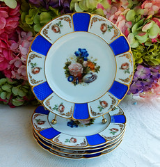 Early Rosenthal Porcelain Plates Blue Panels ~ Flowers ~ Gold Gilt (Donna's Collectables) Tags: flowers blue gold early plates panels porcelain ~ gilt rosenthal