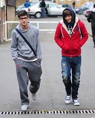 (One Direction Archive) Tags: blue red funnyface walking grey glasses hoodie fulllength trainers nike converse battersea rippedjeans tracksuit rehearsals hooded bagstrap onedirection denimjeans nikehoodie tracksuitbottoms joggingbottoms xfactorfinalists