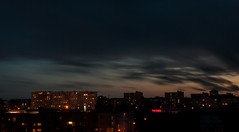 Night sky (modestmoze) Tags: city longexposure pink blue houses windows red summer sky brown white black yellow night clouds buildings lights moving movement shadows july indoors inside blocks shining lithuania vilnius moves darkblue lightblue 2016 500px