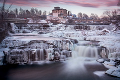 Sunset Falls (Ben_Senior) Tags: almonte ontario canada waterfall winter water flowing sunset sky pink yellow colours colour colors color river mississippiriver mississippimills lanarkcounty bensenior nikon d7100 nikond7100 hdr hdrphotography highdynamicrange longexposure exposure falls smalltown ottawa