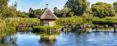 Longstock, Hampshire UK - Fishing Hut Panorama (Invisible Edit) Tags: river trees countryside outdoor fishery fish trout summer british island