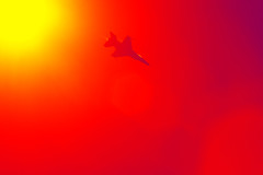 Set your goals high (zgrial) Tags: jet fighterjet f16 usairforce sun red yellow airshow colormanipulation florida usa vibrant hot sky zgrial