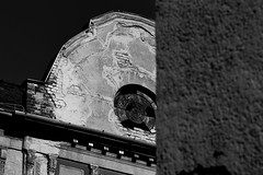 Sniper's nest (Beaust) Tags: blackandwhite easterneurope abandoned architecture balcony black broken budapest building circle city contrast cover decay dystopia europe facade hide hiding hungary monochrome nest place roof shadow site sniper stone urban wall window glass brick