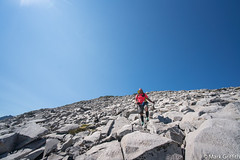 Mark in a Sea of Talus (Mark Griffith) Tags: alpinelakeswilderness backpacking flhrday5 fosslakeshighroute hike hiking mtbakersnoqualmienationalforest scouts sonya7rii traverse washington 20160805dsc08690