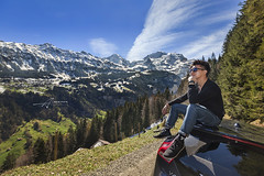 Switzerland and my Son (Albert Photo) Tags: switzerland boy man car cloud cabin lodgr cottage hut mountain rural countryside village outdoor serene landscape sky hill mountainside road