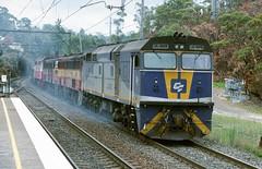 JL403, 4497, EL64 and JL404, on 4168, run through Cowan Station, slowing for the Loop. Main North, NSW, 24th, December, 2001. (garratt3) Tags: 4168 aus film pentax rail railroad rural train elclass standardgauge 44class mainnorth jumbo railway railways trains jlclass locomotive dieselpower dieselfreight australia kodachrome nsw newsouthwales