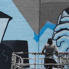 LR_DSC2361-3 (Vernamm2) Tags: blue streetart black grey paint montreal mura gafitti bnw 2015 muralfest earthcrushers