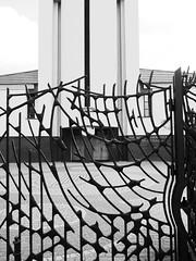 gate (Darek Drapala) Tags: blackandwhite bw building art church architecture buildings blackwhite gate iron poland polska panasonic warsaw warszawa panasonicg5