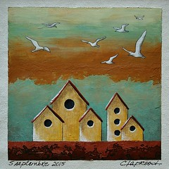 5 septembre 2015 - September 5, 2015 (marieclaprood) Tags: art illustration painting acrylic bird birds birdhouse originalart marieclaprood claprood surrealist dailypainting canvas