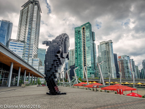 Digital Orca (Tewmom) Tags: vancouver harbor digitalorca orca sculpture outdoor skyline architecture building