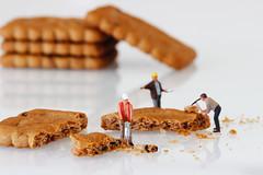 demolition cookies (Chris_DP) Tags: tiny people micro big white work worker mini world food biscuits cookies table top breakfast demolition