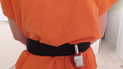 DJI_0264 (boblaly) Tags: orange prison prisoner jail inmate handcuffs cuffed shackled shackles chains chained restraints detention convict arrested belly chain jumpsuit uniform