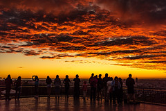 Colour before the sunrise with people (NettyA) Tags: 2016 australia brisbane mtcoottha mtcootthalookout qld queensland sonya7r clouds seqld sunrise people silhouette red lookout