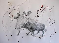 El picador (www.kevinmaxwellsfineart.com) Tags: bulls bullfighting josetomas graphite chinagraph blood anegitive blackandwhite toros torosymatadores matadores drawing spanish espana picador