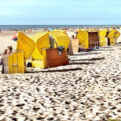 The Yellow Line (Emil de Jong - Kijklens) Tags: strand zee noordzee strandstoel zand sand dune dunes duinen nol geel yellow egmond