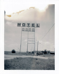 Shamrock, TX (moominsean) Tags: polaroid 190 instant type664 expired092004 texas shamrock motel desert sign