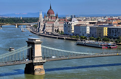 Hungarian Postcard (manuelecant) Tags: budapest hungary europe panorama danube nikon d5500 hdr parliament dome river bridge chain city capital building view