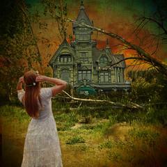 The Old Manor (ihave3kids) Tags: trees sunset girl photomanipulation photoshop mansion manor deviantart bushes photoshopcontest photoshopcompetition