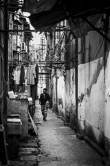 Going Home (banpreso) Tags: china street bw wall bar alley shanghai sink path walk sony contax walkway hanging hutong rods a7 clothe sonnar 3570mm vario longtang f34