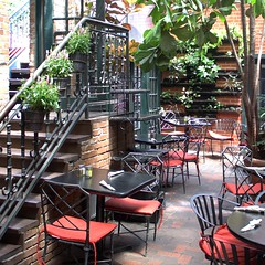 Bistro (Michael Sprabary) Tags: architecture stairs table dallas cafe chair texas interior skylight bistro indoors dining inside atrium