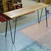 Solid oak table with metal hairpin legs