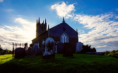 Church of Ireland, Kilmuckridge (ronamkelly) Tags: church temple protestant churchofireland ireland sun spire gothic building cemetary stone tower hill irish wexford kilmuckridge blue clouds cloud tomb