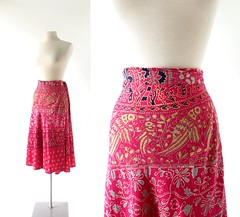 1970s India cotton Love Birds block print wrap skirt (Small Earth Vintage) Tags: smallearthvintage vintageclothing vintagefashion skirt wrapskirt 1970s 70s indiacotton blockprint lovebirds