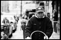 one day in chinatown (-{ ThusOriginal }-) Tags: 135 bw blackandwhite car city f3hp film fujineopan1600 monochrome nyc street thusihaveseen winter thusoriginal newyork scan