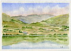 au bord du lac (ybipbip) Tags: lake montagne watercolor painting landscape lago paint aquarelle peinture watercolour acuarela paysage moutain pintura aquarell acquerello akvarell