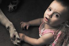 Best of Friends (Caterix) Tags: baby babyanddog blackandwhite blendingoptions bordercollie child childrenandpets dog naturallight paw pets photoshop sophia stylised