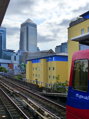 Approaching the Financial District (Kombizz) Tags: 1110733 kombizz london architecture building docklandslightrailway canarywharf docklands railtrack railway approachingthefinancialdistrict approaching financialdistrict canarywharffinancialdistrict dlrtrain onecanadasquare