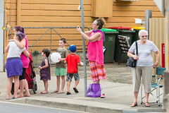 Steadycam - Jacaranda Parade 2015 (sbyrnedotcom) Tags: 2015 people events grafton jacaranda parade rural town woman photographer pole stable nsw australia