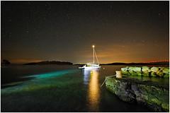 starry night in Croatia (stefan.bauer) Tags: starrynight croatia maslinica night sea stars light nikon starry boat lights dark
