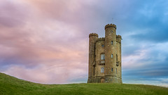 After and before the rain (myca28) Tags: broadway tower uk cotswold sky rain clouds sunset england grass blue pink green highest point after before