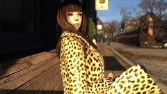 Don't...tell me to smile (alexandriabrangwin) Tags: alexandriabrangwin secondlife 3d cgi computer graphics virtual world thejezabels smile music video tribute fan art park bench leopard fur coat sitting london hayleymary lead singer vocalist australian band