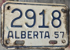 ALBERTA 1957 ---MOTORCYCLE LICENSE PLATE (woody1778a) Tags: alpca alberta motorcycle licenseplate registrationplate numberplate mycollection myhobby canada hobby vintage woody edmonton