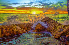 Framed by Foam (HDR version) (Michael F. Nyiri) Tags: southerncalifornia ocean rocks pacificocean cabrillobeach sanpedro california sea seafoam canonflickraward cffaa cffa
