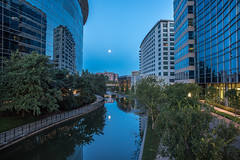 Harvest Moon Morning (Woodlands Photog) Tags: morning sunrise dawn harvest moon full water buildings urban cityscape the woodlands thewoodlands texas reflection waterway serene